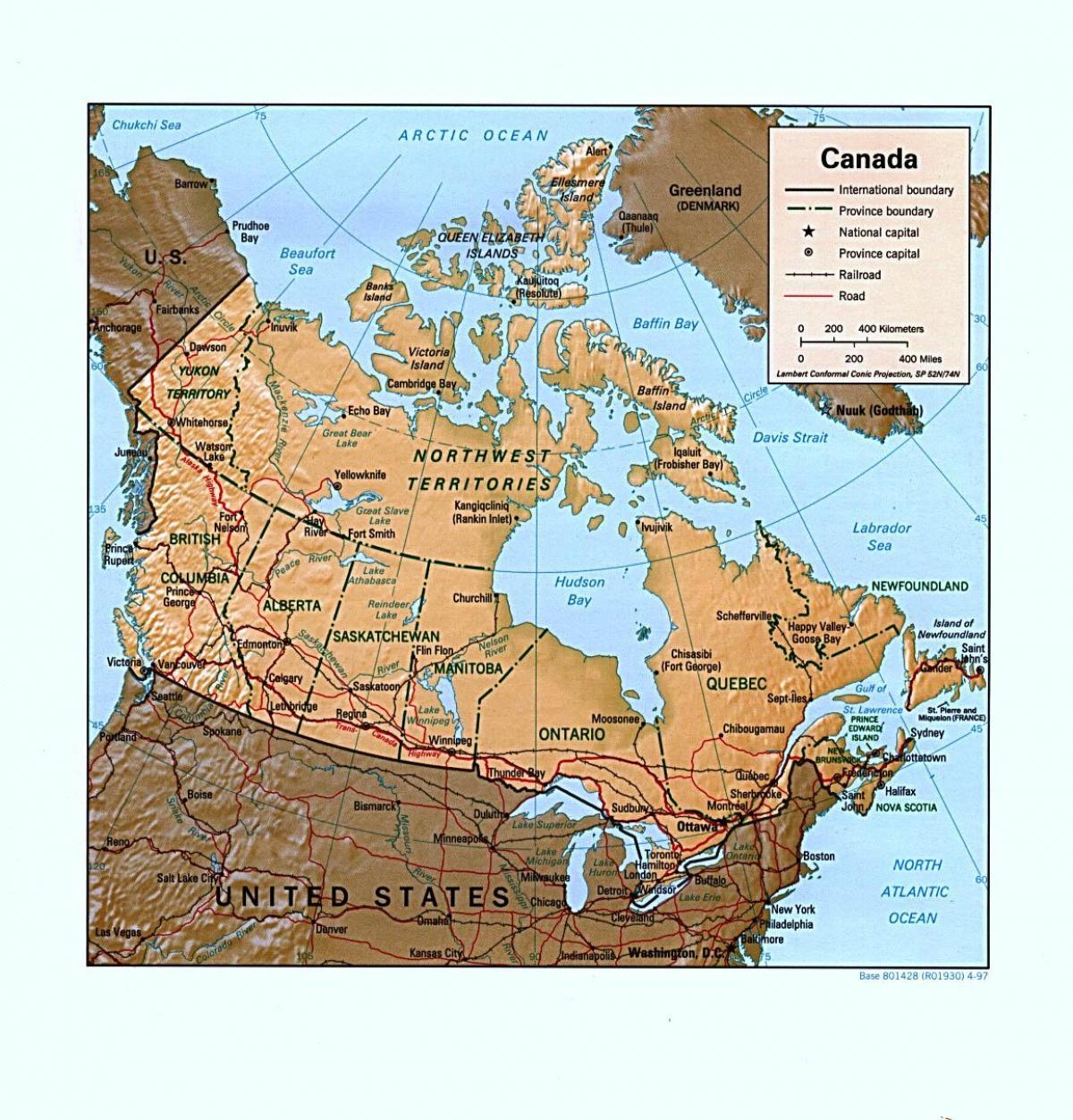Kanada Domborzat Terkep Terkep Kanada Domborzat Eszak Amerika