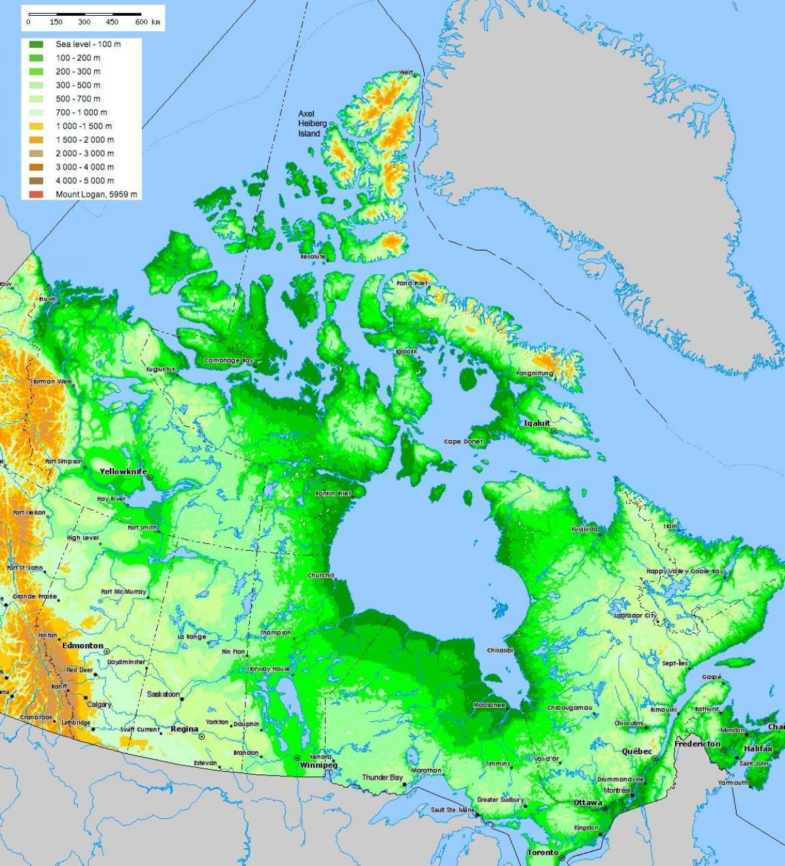 Kanada Domborzati Terkep Terkep Kanada Terep Eszak Amerika